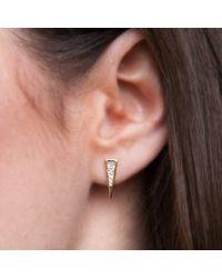 Anne Sisteron - Metallic 14kt Rose Gold Baguette Diamond Triangle Stud Earrings - Lyst