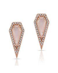 Anne Sisteron - Pink 14kt Rose Gold Moonstone Diamond Shield Earrings - Lyst