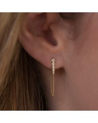 Anne Sisteron Multicolor 14kt White Gold Diamond Bezel Bar Chain Stud Earrings