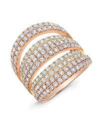 Anne Sisteron Metallic 14kt Rose And Yellow Gold Diamond Layered Band Ring