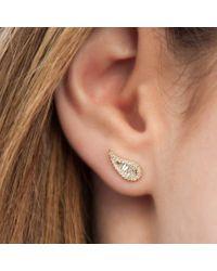 Anne Sisteron Metallic 14kt Yellow Gold Baguette Diamond Paisley Stud Earrings