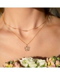 Anne Sisteron Multicolor 14kt Rose Gold Diamond Slice Mae Small Flower Necklace