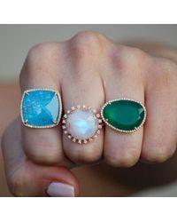Anne Sisteron 14kt Yellow Gold Green Onyx Organic Diamond Cocktail Ring