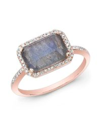 Anne Sisteron - Metallic 14kt Rose Gold Labradorite Diamond Chic Ring - Lyst