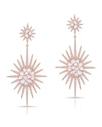 Anne Sisteron | Metallic 14kt Rose Gold Diamond Double Fireburst Drop Earrings | Lyst