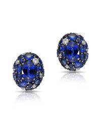 Anne Sisteron | 14kt White Gold Blue Sapphire Diamond Bijou Earrings | Lyst