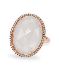 Anne Sisteron | Metallic 14kt Rose Gold Moonstone Diamond Oval Cocktail Ring | Lyst