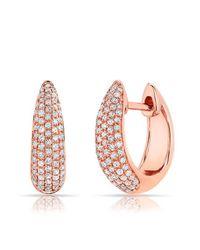 Anne Sisteron | Pink 14kt Rose Gold Diamond Bold Huggie Earrings | Lyst