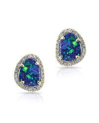 Anne Sisteron | Multicolor 14kt Yellow Gold Mini Organic Opal Diamond Stud Earrings | Lyst