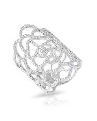 Anne Sisteron | Multicolor 14kt White Gold Diamond Camellia Flower Ring | Lyst