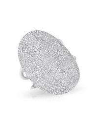 Anne Sisteron | Metallic 14kt White Gold Diamond Oval Armor Ring | Lyst