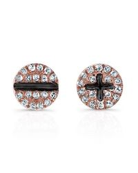 Anne Sisteron | Metallic 14kt Rose Gold Diamond Hardware Stud Earrings | Lyst