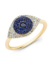 Anne Sisteron | Metallic 14kt Yellow Gold Diamond And Blue Sapphire Evil Eye Ring | Lyst