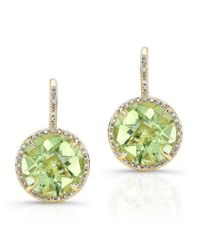 Anne Sisteron | Multicolor 14kt Yellow Gold Green Amethyst Diamond Round Earrings | Lyst