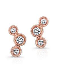 Anne Sisteron | Metallic 14kt Rose Gold Bezel Set Diamond Hazel Earrings | Lyst