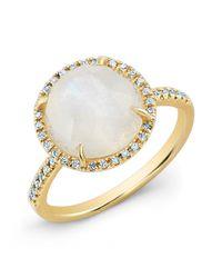 Anne Sisteron | Metallic 14kt Yellow Gold Rainbow Moonstone Diamond Cocktail Ring | Lyst