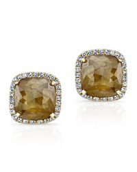 Anne Sisteron | Metallic 14kt Yellow Gold Diamond Slice Square Stud Earrings | Lyst