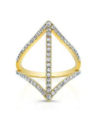 Anne Sisteron | Metallic 18kt Yellow Gold Diamond Spear Ring | Lyst