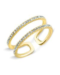 Anne Sisteron | Metallic 14kt Yellow Gold Diamond Double Bar Knuckle Ring | Lyst