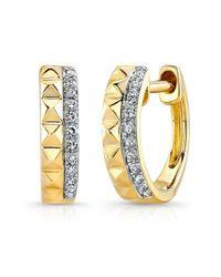 Anne Sisteron   Metallic 14kt Yellow Gold Spike Diamond Huggie Earrings   Lyst