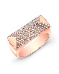 Anne Sisteron | Multicolor 14kt Rose Gold Diamond Pyramid Bar Ring | Lyst