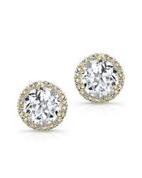 Anne Sisteron | Metallic 14kt Yellow Gold White Topaz Diamond Stud Earrings | Lyst
