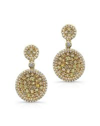 Anne Sisteron   Metallic 14kt Yellow Gold White And Yellow Diamond Mae Earrings   Lyst
