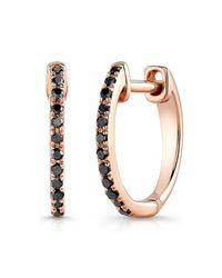 Anne Sisteron | Multicolor 14kt Rose Gold Black Diamond Huggie Earrings | Lyst
