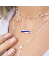 Anne Sisteron Blue 14kt Yellow Gold Lapis Diamond Bar Necklace