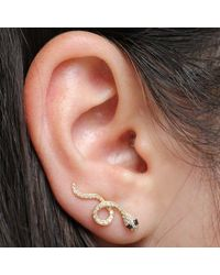 Anne Sisteron Metallic 14kt Yellow Gold Black Diamond Snake Ear Climber