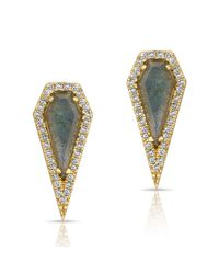 Anne Sisteron | Metallic 14kt Yellow Gold Labradorite Diamond Shield Earrings | Lyst