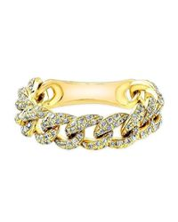 Anne Sisteron Metallic 14kt Yellow Gold Diamond Thin Chain Link Ring