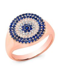 Anne Sisteron - Blue 14kt Rose Gold Diamond And Sapphire Disc Ring - Lyst