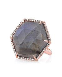 Anne Sisteron Multicolor 14kt Rose Gold Labradorite Diamond Hexagon Cocktail Ring