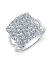Anne Sisteron | Metallic 18kt White Gold Diamond Square Ring | Lyst