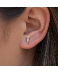 Anne Sisteron Metallic 14kt Yellow Gold Diamond Mini Long Triangle Stud Earrings