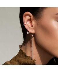 Anne Sisteron Multicolor 14kt White Gold Diamond Hazel Bezel Huggie Earrings
