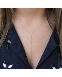 Anne Sisteron Metallic 14kt Rose Gold Diamond Mini V Lariat Necklace