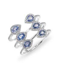 Anne Sisteron - 14kt White Gold Blue Sapphire Diamond Open Circuit Ring - Lyst
