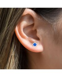Anne Sisteron Blue 14kt Yellow Gold Lapis Diamond Disc Stud Earrings