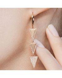 Anne Sisteron Metallic 14kt Yellow Gold Diamond Triple Triangle Wireback Earrings