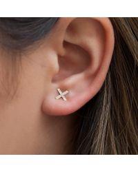 Anne Sisteron Metallic 14kt Rose Gold Diamond X Stud Earrings