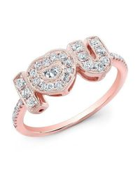 Anne Sisteron | Metallic 14kt Rose Gold Diamond I-heart-u Ring | Lyst