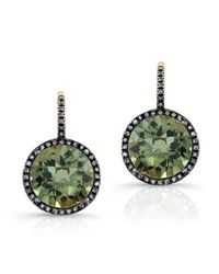 Anne Sisteron - 14kt Oxidized Yellow Gold Green Amethyst Diamond Round Earrings - Lyst