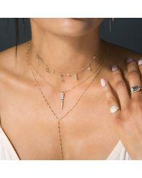 Anne Sisteron Metallic 14kt Rose Gold Baguette Diamond Dagger Necklace