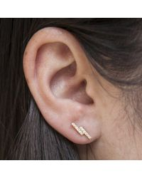 Anne Sisteron Metallic 14kt Rose Gold Diamond Ridge Stud Earrings