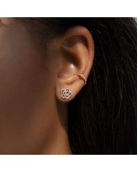 Anne Sisteron Metallic 14kt Rose Gold Diamond Camellia Flower Stud Earrings