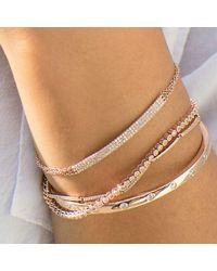 Anne Sisteron Metallic 14kt Yellow Gold Diamond Triple Chain Id Bracelet