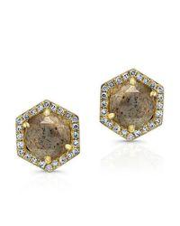 Anne Sisteron Metallic 14kt Yellow Gold Diamond Labradorite Hexagon Shape Stud Earrings