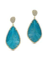 Anne Sisteron 14kt Yellow Gold Blue Apatite Diamond Leaf Shape Earrings